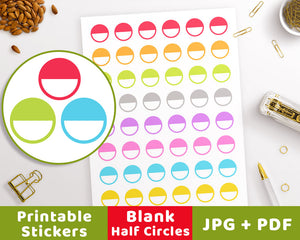 Blank Half Circle Printable Planner Stickers