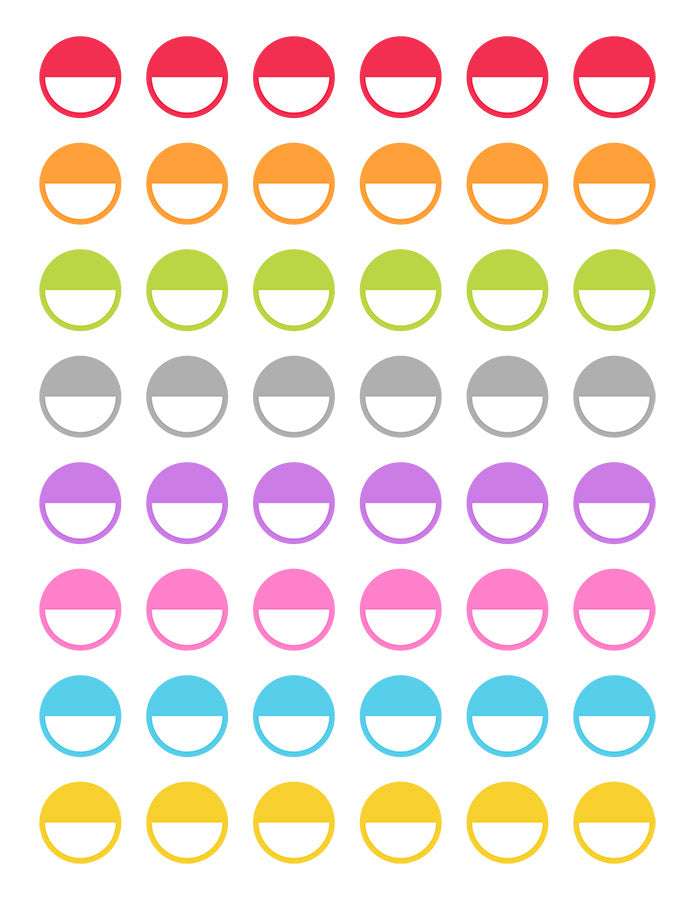 photo regarding Circle Printable Stickers known as Blank Fifty percent Circle Printable Planner Stickers