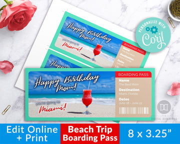 Beach Vacation Boarding Pass Template Printable *EDIT ONLINE*