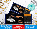 Las Vegas Vacation Ticket Template Editable Printable