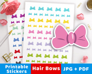 Hair Bow Printable Planner Stickers- The Digital Download Shop