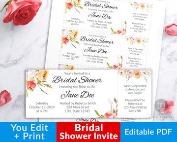 Bridal Shower Invitation Template Ticket- Pink Floral