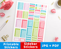 Bright Sidebar Printable Planner Stickers