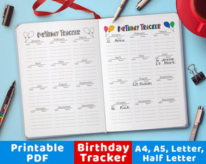 Bullet Journal Birthday Tracker Log Printable