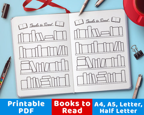 "A handy ""books to read"" reading tracker. Use this bujo printable for a fun, visual way to remember what books you want to read!"