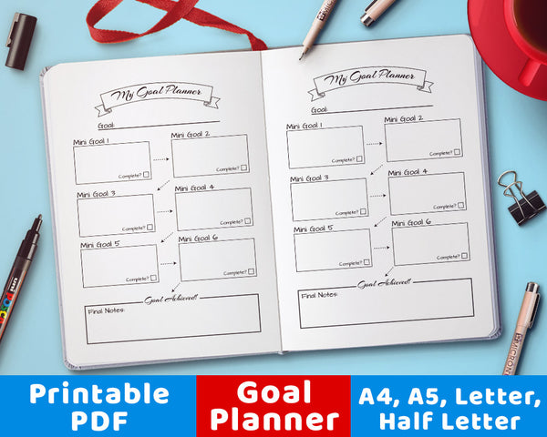 Bullet Journal Goal Planner Printable- The Digital Download Shop