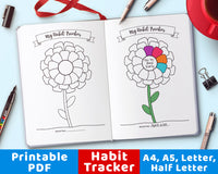Bullet Journal Habit Tracker Flower Printable