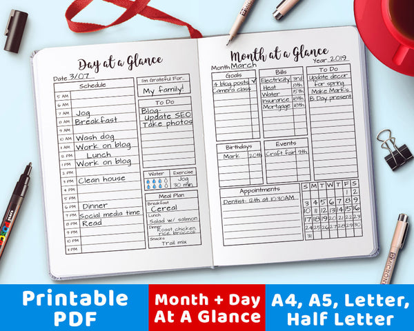 Bullet Journal Month + Day at a Glance Printable