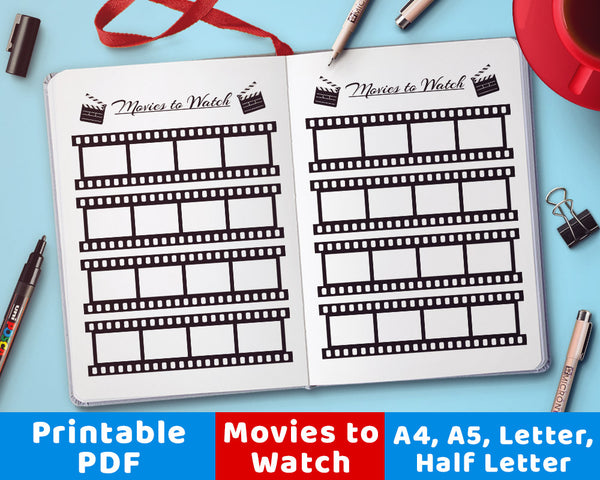 "A handy ""movies to watch"" movie viewing tracker. Use this bujo printable for a fun, visual way to remember what films you want to see next!"