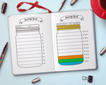 Bullet Journal Savings Jar Printable- Savings tracker printable in the shape of a Mason jar. Use this bujo printable to help keep track of your savings goals and stay motivated! | bujo pages to print, personal finances, money saving, #saveMoney #bulletJournal #DigitalDownloadShop