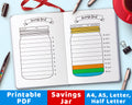 Bullet Journal Savings Jar Printable