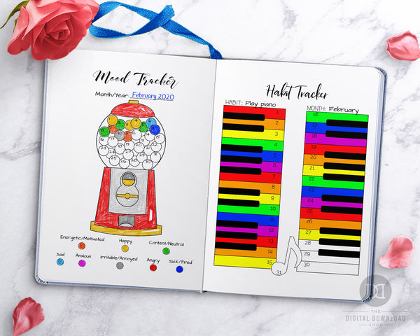 Bullet Journal Tracker Template Printable Bundle- This big bujo tracker printables bundle has all the trackers you need for your planner! It includes habit trackers, mood trackers, stress trackers, weather trackers, and more! | #moodTracker #habitTracker #bulletJournal #bujo #DigitalDownloadShop