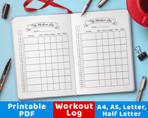 Bullet Journal Workout Log Printable- The Digital Download Shop