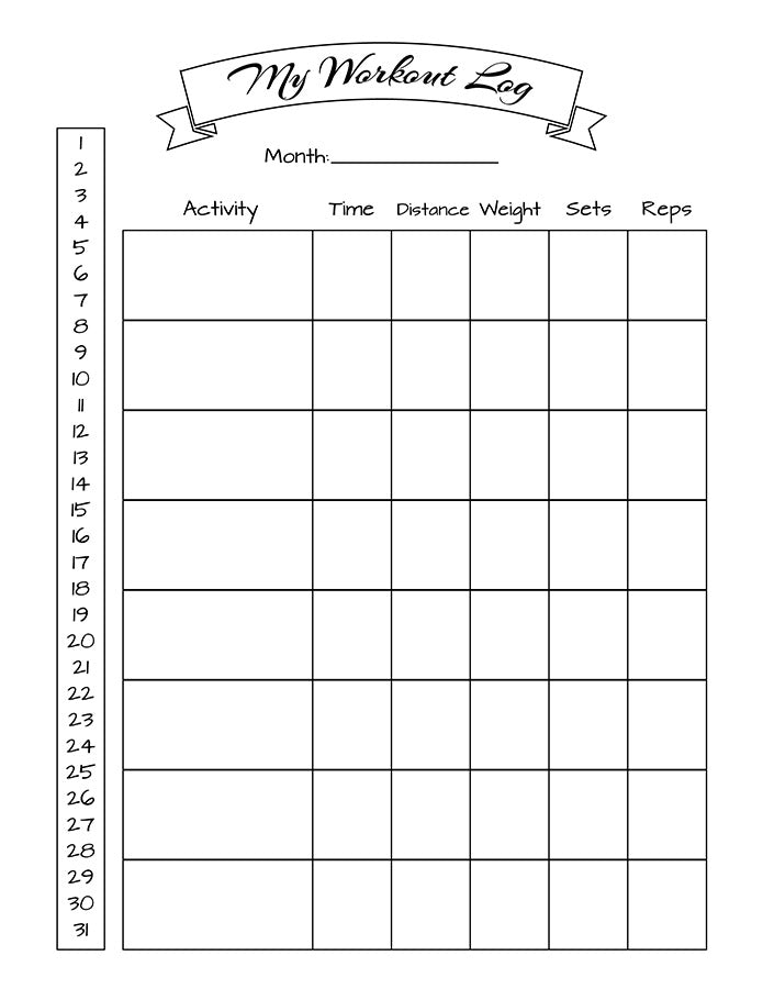 picture about Workout Tracker Printable identify Bullet Magazine Training Log Printable