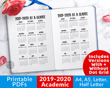 2019-2020 Academic Year at a Glance Calendar Printable