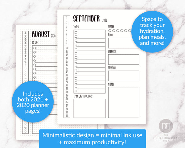 2021 + 2020 Bullet Journal Daily Log Template Printable