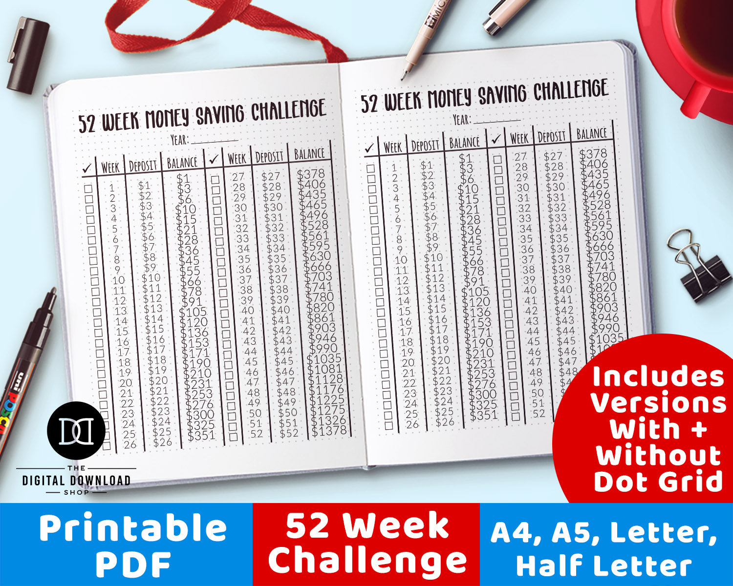 graphic about 52 Week Money Saving Challenge Printable called Cash Preserving Difficulty Printable