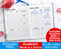 Academic Week at a Glance Planner Printable