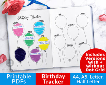 Birthday Tracker Bullet Journal Printable