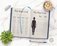 2 Bullet Journal Body Measurement Trackers- Body measurement tracker printables for bullet journals and other planners. Use these weight loss tracker printables to keep tabs on how your weight loss journey is changing your body measurements! | lose weight, health and wellness, printable fitness planner, #fitness #weightLoss #DigitalDownloadShop