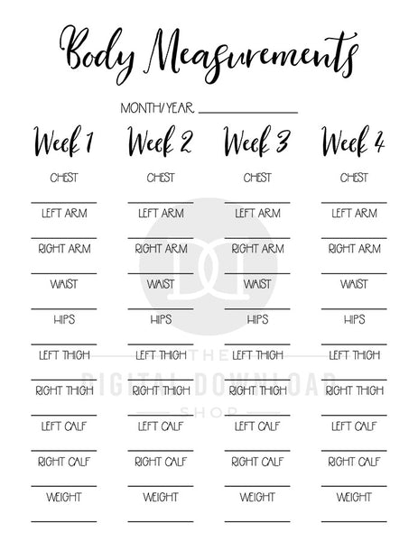 2 body measurement tracker printables for bullet journals and other planners. Use these weight loss tracker printables to keep tabs on how your weight loss journey is changing your body measurements! | lose weight, health and wellness, printable fitness planner, #fitness #weightLoss #DigitalDownloadShop