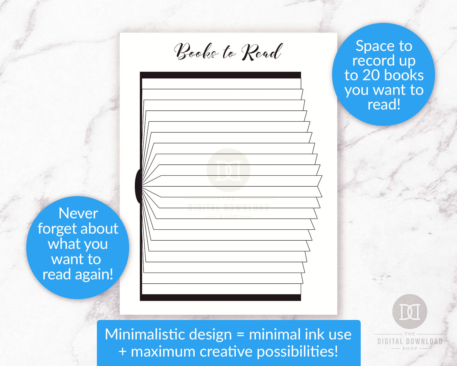 Books to Read Bullet Journal Printable | The Digital Download Shop