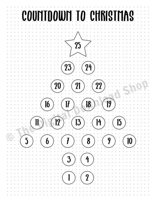 Bullet Journal Christmas Countdown Printable