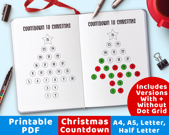 Christmas Countdown Planner Printable from The Digital Download Shop
