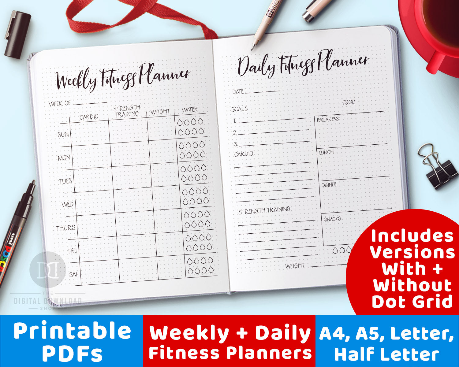 photo relating to Fitness Printables identified as 2 Physical fitness Planner Printables
