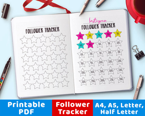 Bullet Journal Follower Growth Tracker Printable
