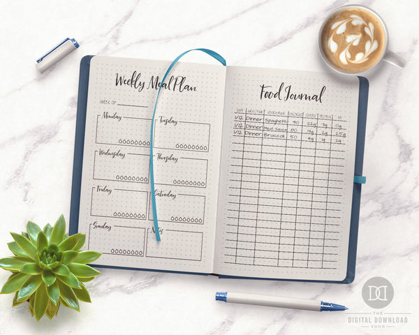 Bullet Journal Food Diary Printables- Use these food journal + meal planner printables to plan your meals and track your calories, carbs, protein, and fat! | meal planning, menu planning, food log, health and wellness planner, fitness planner, bullet journal, printable planner inserts, bujo, #foodDairy #foodJournal #DigitalDownloadShop