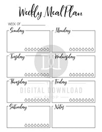 Food Journal Printable + 2 Meal Planner Printables- Use these food diary printables to plan your meals and track your calories, carbs, protein, and fat! | meal planning, menu planning, food log, health and wellness planner, fitness planner, bullet journal, printable planner inserts, bujo, #foodDairy #foodJournal #DigitalDownloadShop