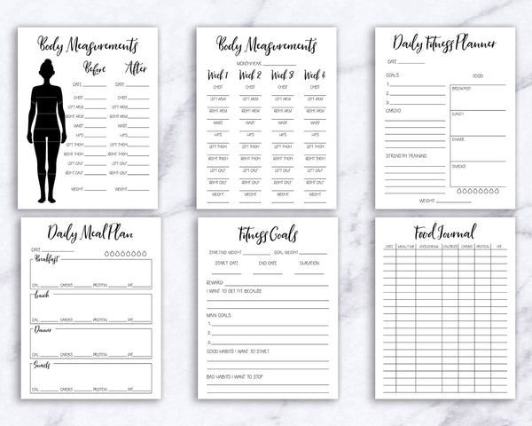 Printable health and fitness planner for bullet journals and other planners. Journal and plan your way to a healthy body with the help of these 17 fitness and wellness planner pages!