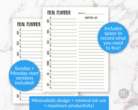 Weekly meal planner + shopping list planner printable for bullet journals and other planners.