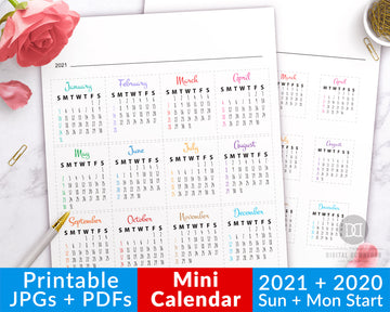 2021 + 2020 Bullet Journal Mini Calendars Printable