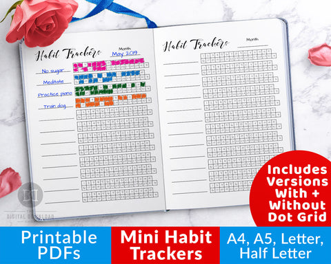 Mini habit tracker printable for bullet journals and other planners, with 12 trackers on one page. Use this bujo tracker printable as a way to keep track of your progress toward all your habit goals!