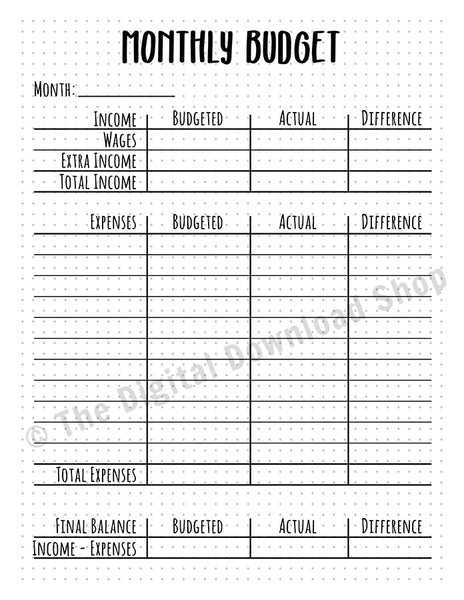 Monthly Budget Printable