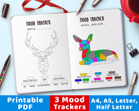 3 Bullet Journal Mood Tracker Printables- Deer