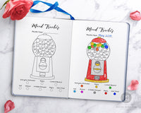 Mood tracker printable for bullet journals and other planners with a fun gumball machine design. Use this bujo tracker printable as a colorful way to keep track of your moods, or as an easy way to keep tabs on your anxiety or depression.