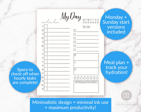 Free Printable Day at a Glance- If you want to organize your day and achieve your goals with ease, you need this free printable day at a glance page in your bujo or planner! | daily log, bullet journal page ideas, daily agenda, #freePrintable #bulletjournal #planner #DigitalDownloadShop