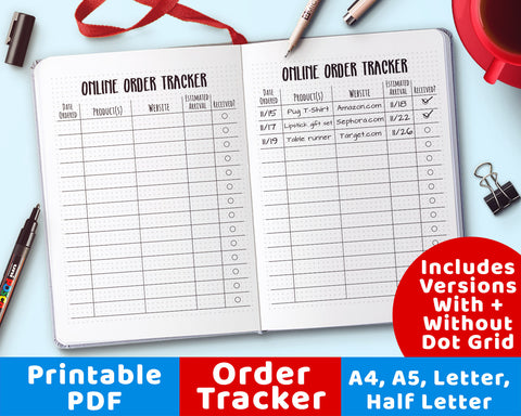 Online Shopping Tracker Printable