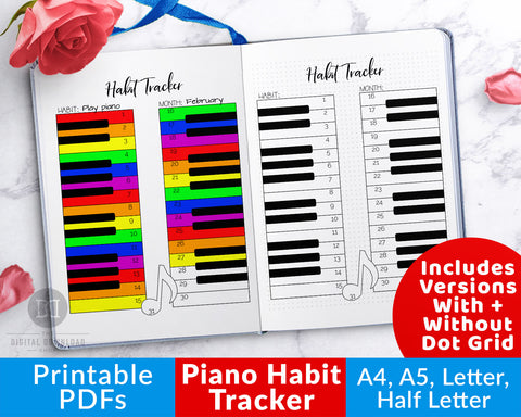 Piano Habit Tracker Printable- Use this printable piano practice tracker to help yourself stay on track with your musical goals! | bujo community, bullet journal ideas, music tracker, piano playing tracker, how to play the piano consistently, #habitTracker #piano #DigitalDownloadShop