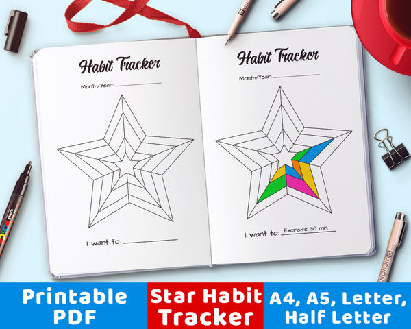 Bullet Journal Habit Tracker Printable- Star