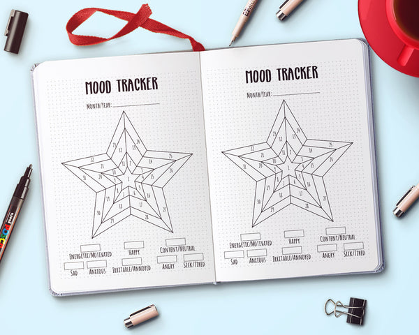 Star Bullet Journal Mood Tracker Printable
