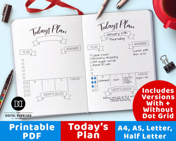 """Today's Plan"" Daily Planner Printable"
