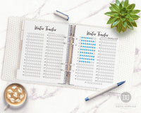 2 Bullet Journal Water Trackers- Water tracker printables for bullet journals and other planners. Use these monthly hydration tracker template printables to keep tabs on how much water you drink! | drink more water, bujo printables, stay hydrated, #planner #bulletJournal #DigitalDownloadShop