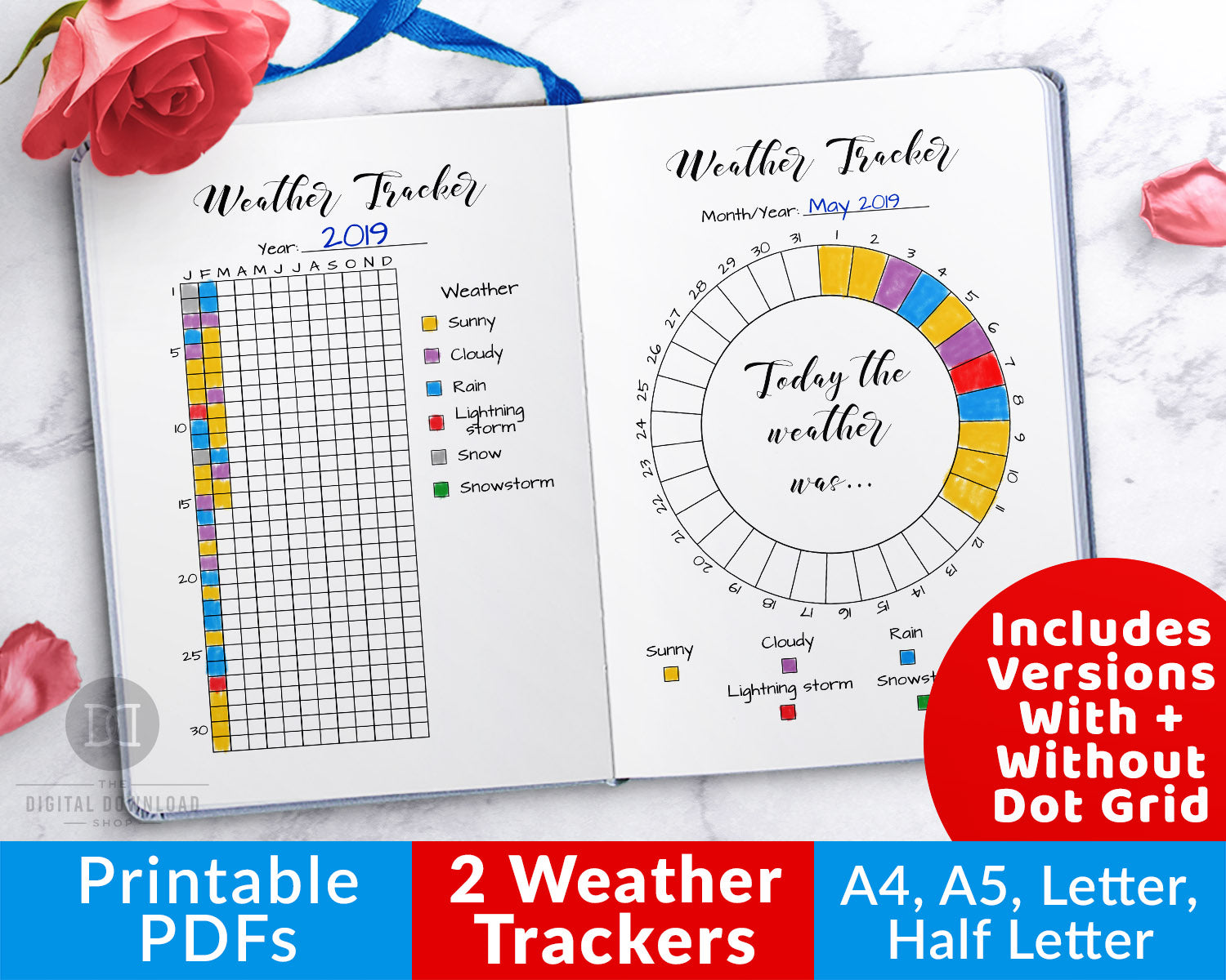 2 weather tracker printables for bullet journals and other planners- 1 circle tracker (for monthly tracking) and 1 chart tracker (for annual tracking). Use this weather tracking planner printable to keep a log of the weather in your area!