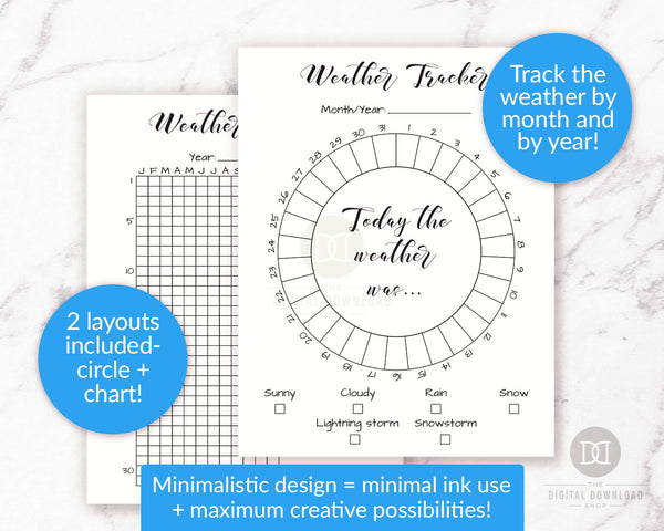 2 weather tracker printables for bullet journals and other planners- 1 circle tracker (for monthly tracking) and 1 chart tracker (for annual tracking).