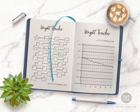 Bullet Journal Weight Loss Trackers- 2 weight tracker printables for bullet journals and other planners. Use these weight loss tracker template printable to keep tabs on your weight loss journey! | bujo printables, health and wellness, fitness planner, lose weight, planner inserts, #weightLoss #planner #DigitalDownloadShop