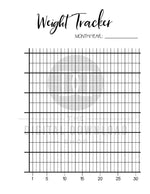 2 weight tracker printables for bullet journals and other planners. Use these weight loss tracker template printable to keep tabs on your weight loss journey! | bujo printables, health and wellness, fitness planner, lose weight, planner inserts, #weightLoss #planner #DigitalDownloadShop